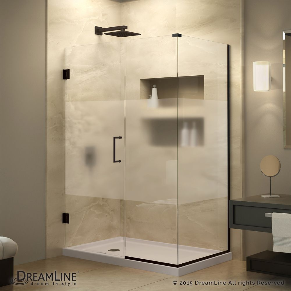 Unidoor Plus 30 3 8 Inch X 36 1 2 Inch X 72 Inch Hinged Shower Enclosure With Half Frosted Glass Door In Oil Rubbed Bronze Shower Doors Shower Enclosure Corner Shower Enclosures