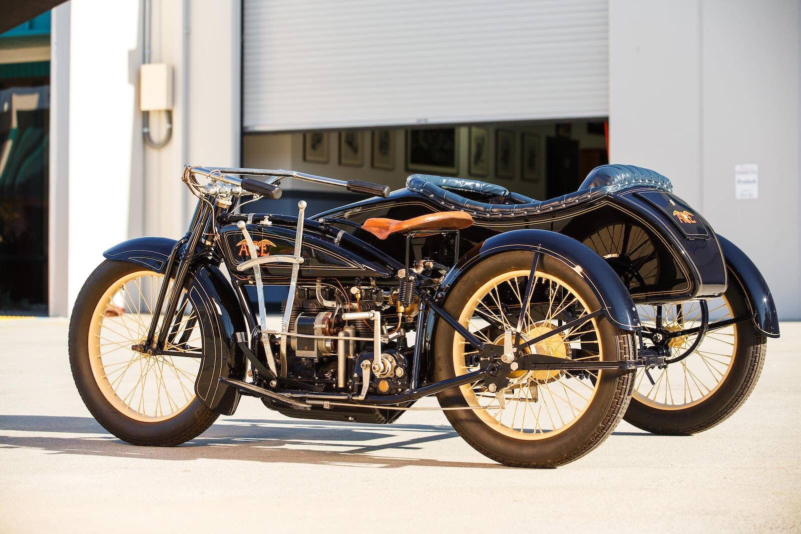 1922 Ace Four Cylinder W Side Car Motorcycle Usa Vintage Motorcycles Bike