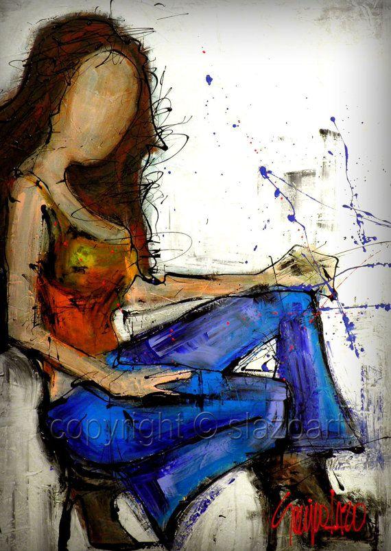 Originale peinture personnalisée - Art abstrait moderne par SLAZO -30 x 40 - sur mesure