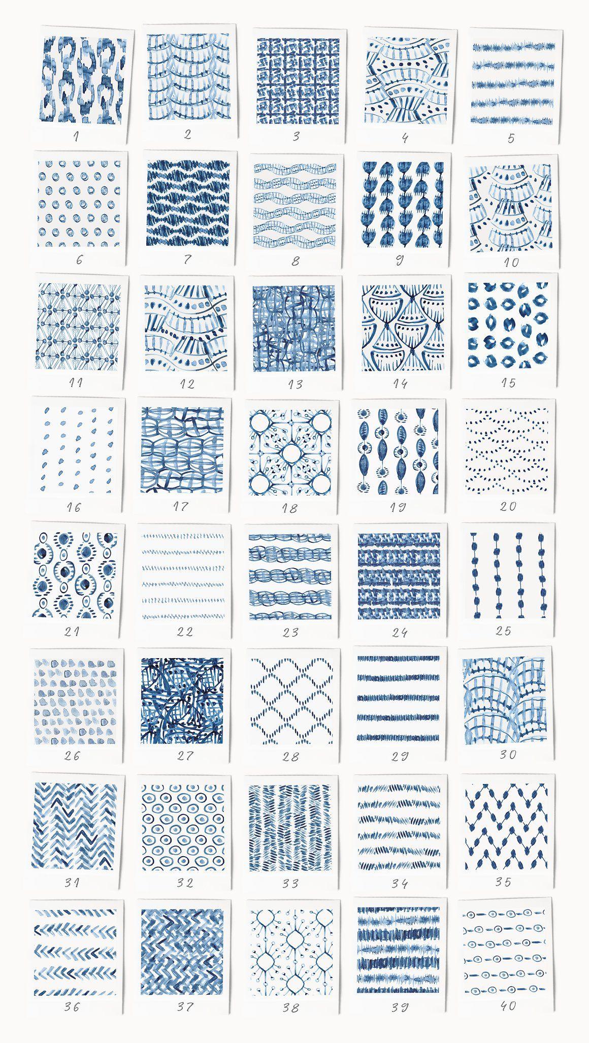 80 Indigo Blue Watercolor Patterns - Patterns
