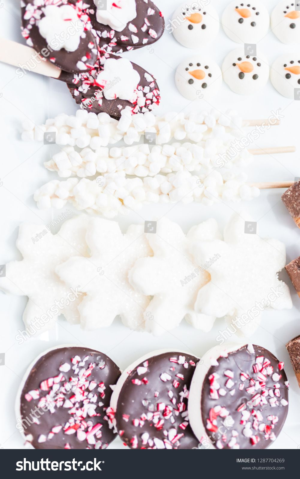 Close up view. Variety of marshmallow toppings with peppermint and chocolate for hot chocolate and cocoa drinks. ,