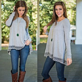 Fashion Women Long Sleeve O Neck Lace Trim Casual Irregular Asymmetric Top Blouse