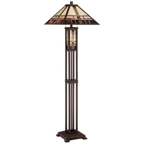 Geometric Art Glass Mission Floor Lamp With Night Light