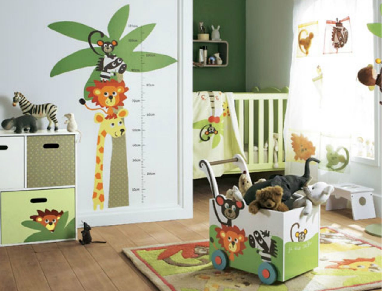 D coration chambre b b jungle bebe pinterest for Decoration de chambre pour bebe