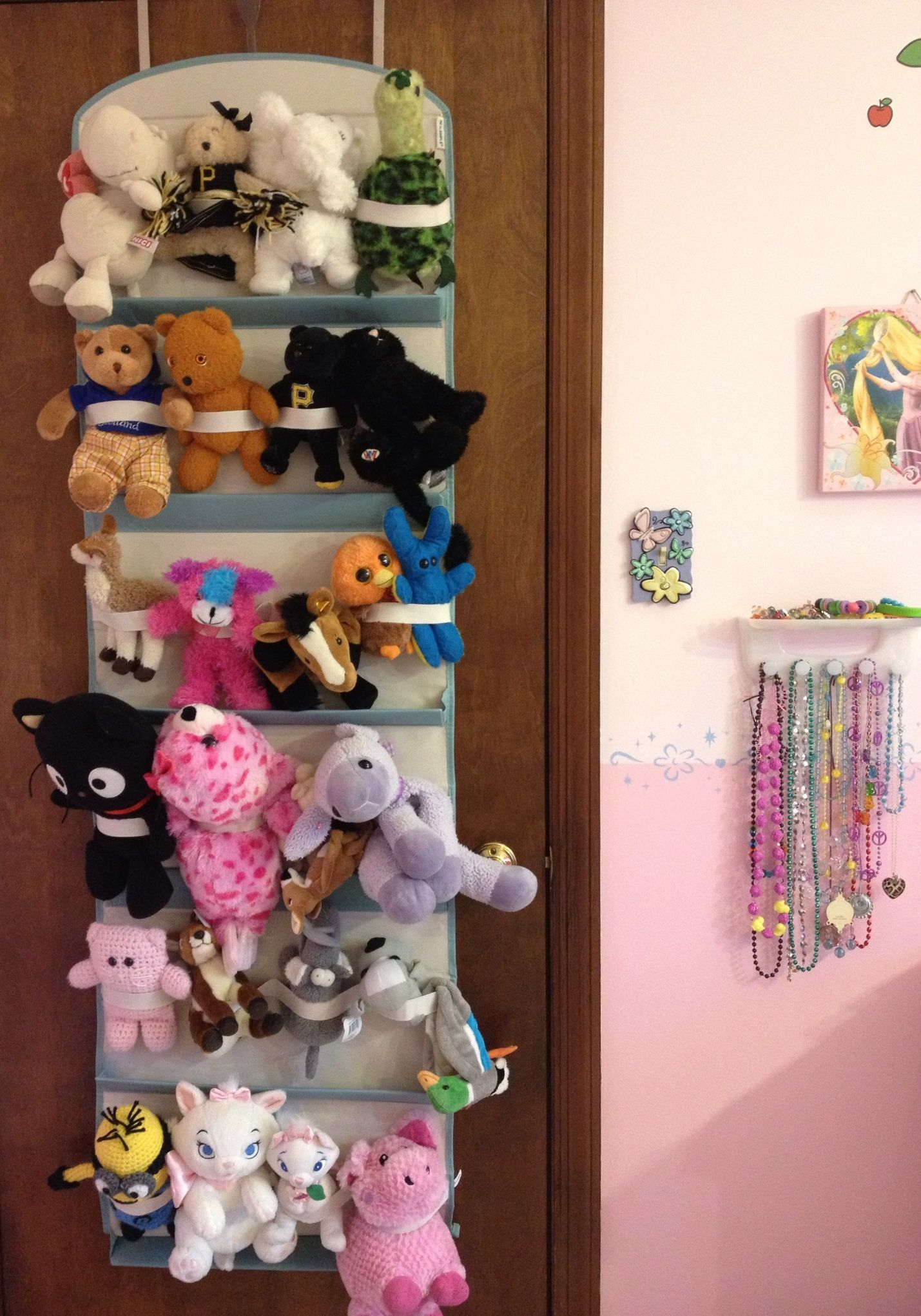 Stuffed Animal Organization and Storage with Real Simple Hanging Shoe  Organizer.
