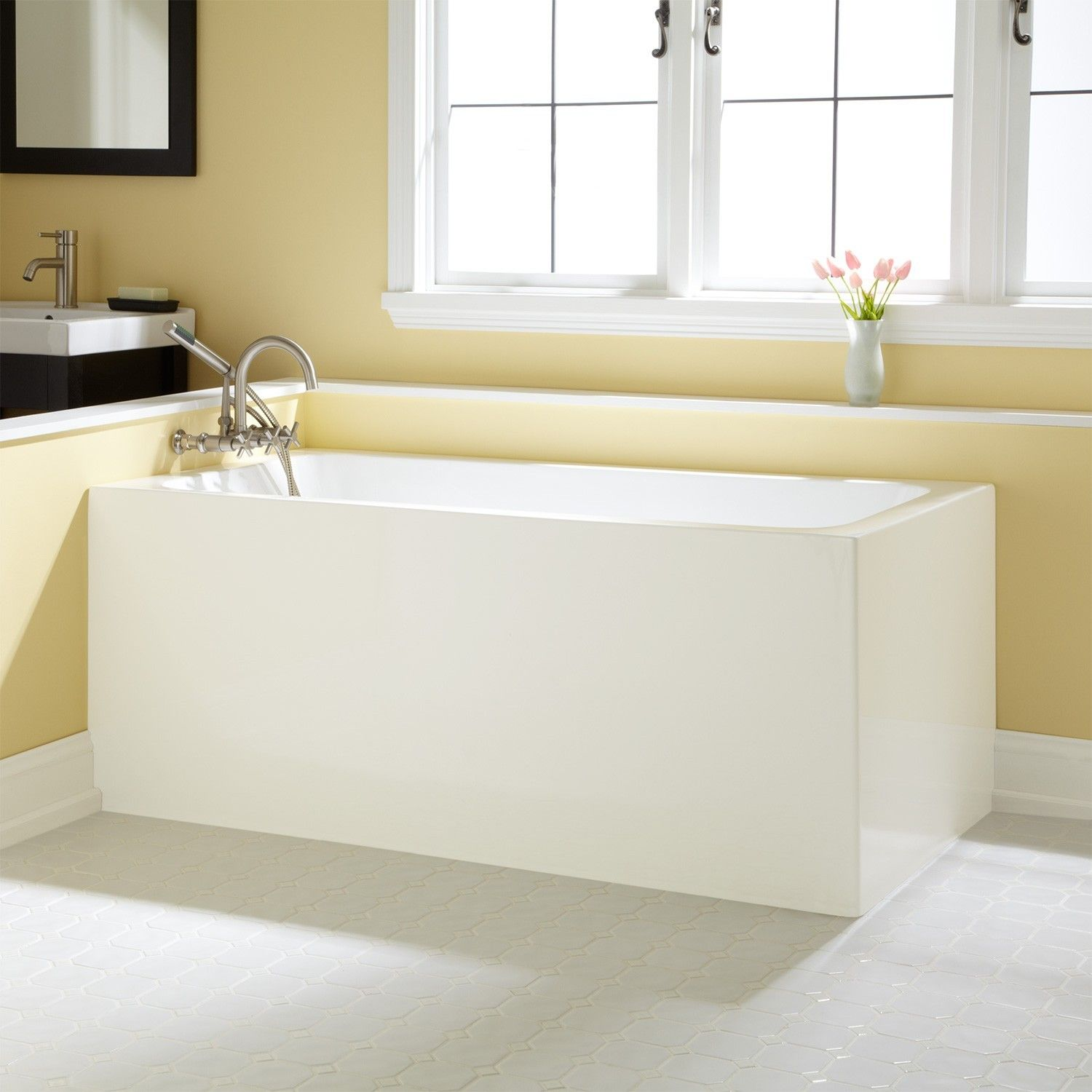 Handicap Tubs Rectangular White Acrylic Corner Tub And Small ...