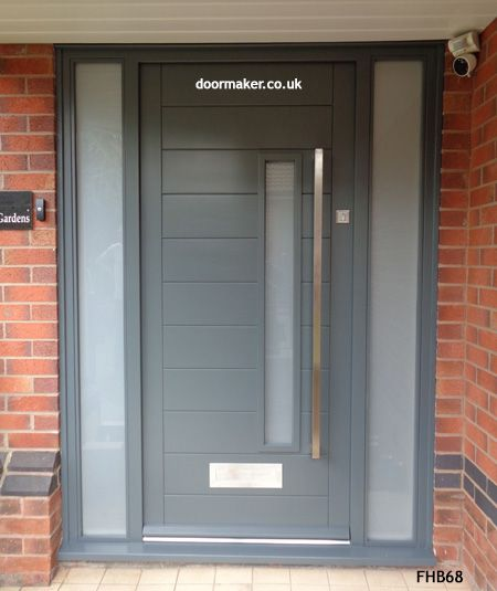 Contemporary Grey Door And Frame Sidelights Exterior In