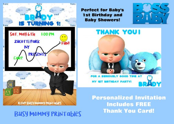 Boss Baby Inspired Personalized Invitation With Free Thank You Card Digital Boss Bab In 2020 Personalized Birthday Invitations Personalized Invitations Boss Birthday