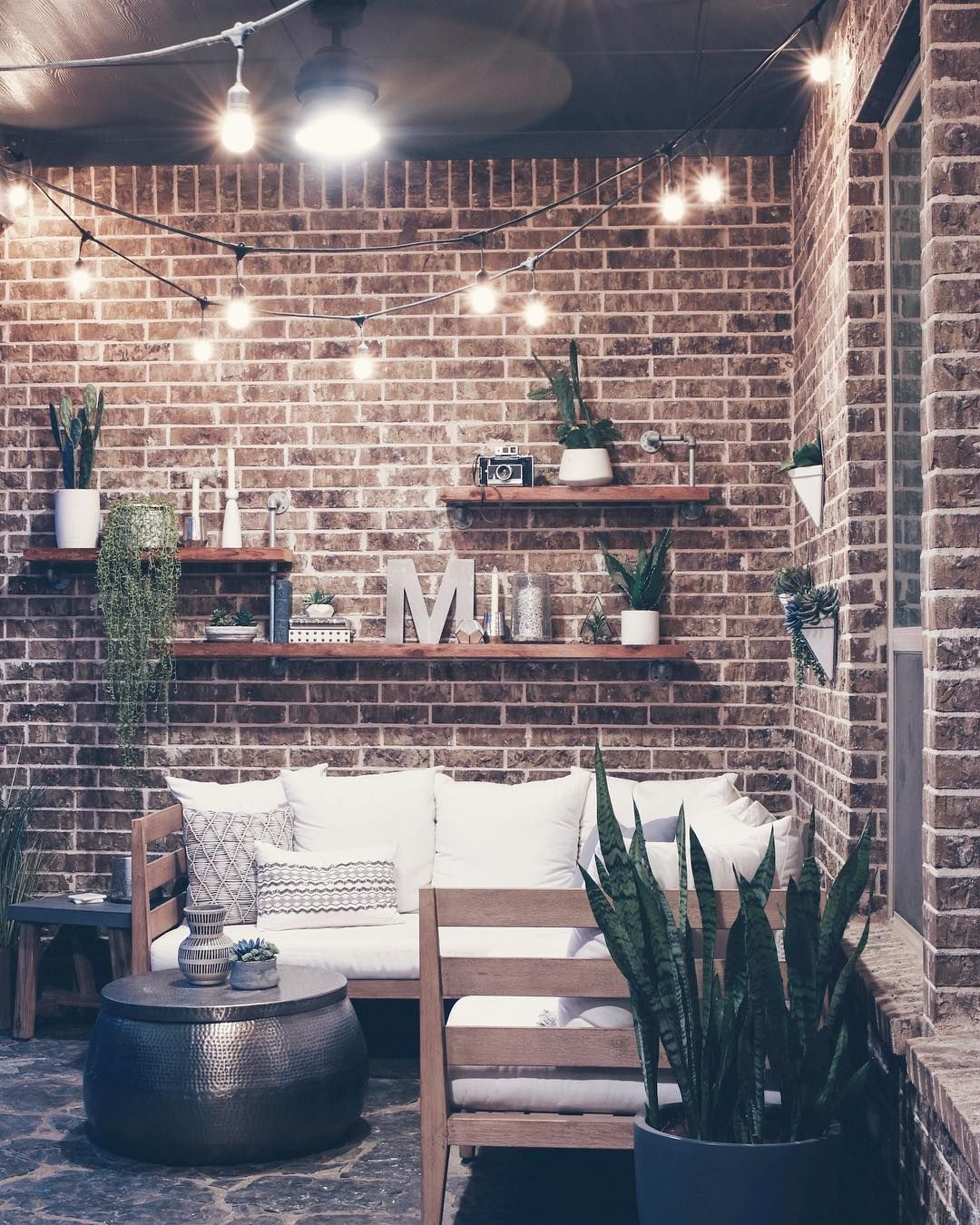 Outdoor Living Space West Elm Couch Brick Wall Industrial Wall