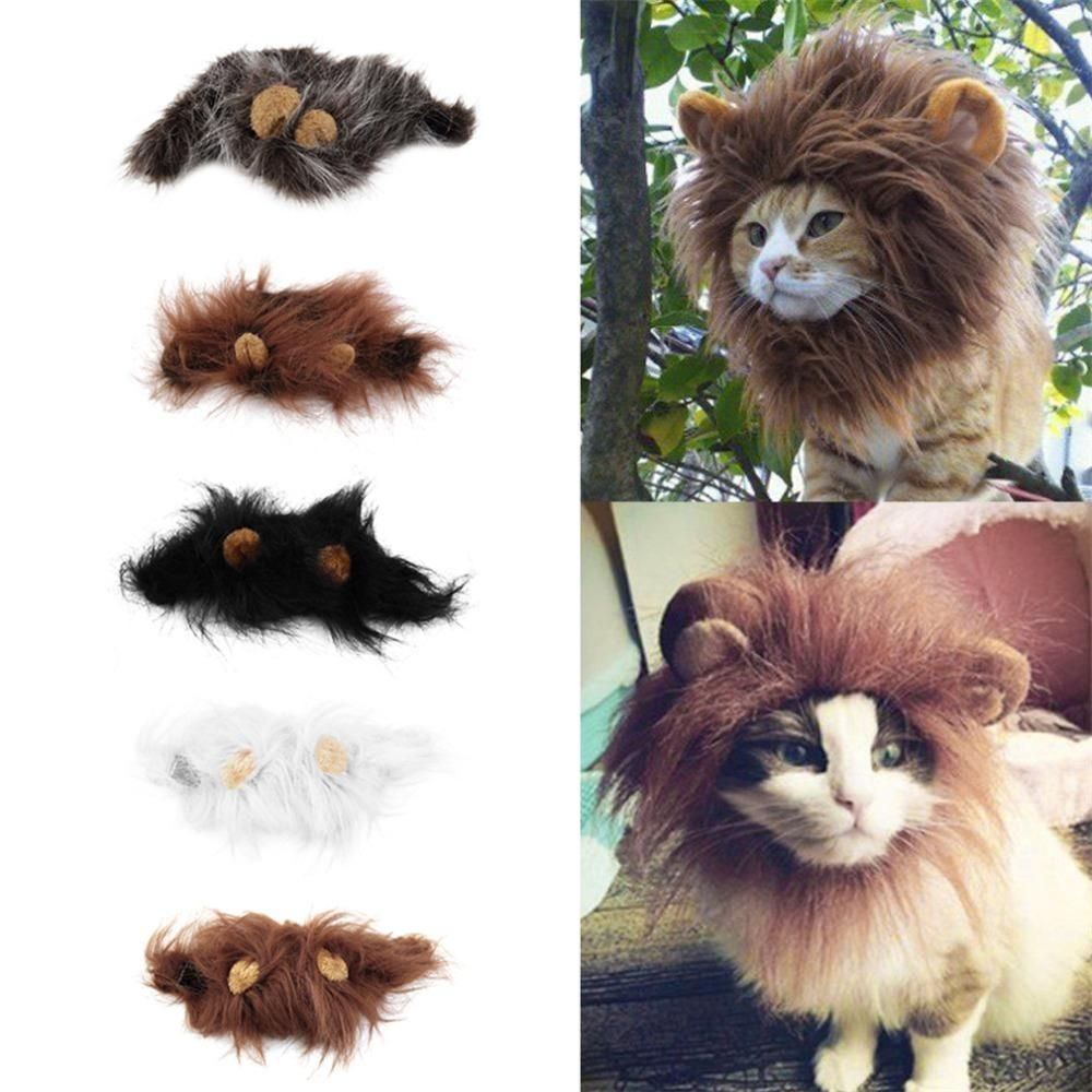6e2459fdf Pet Cat Dog Emulation Lion Hair Mane Ears Head Cap Autumn Winter Dress Up  Costume Muffler Scarf