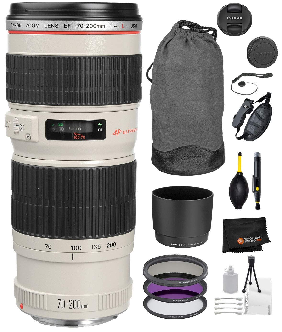 Canon EF 70-200mm f/4L USM Lens with Professional Bundle Package