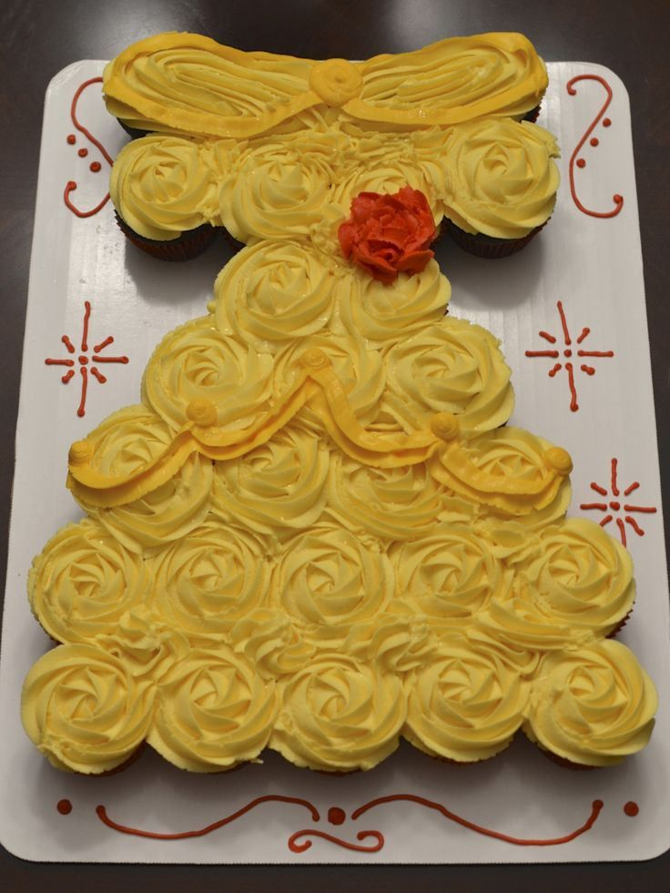 Belle (from Beauty and the Beast) Dress Cupcake Cake | Kids Party in ...