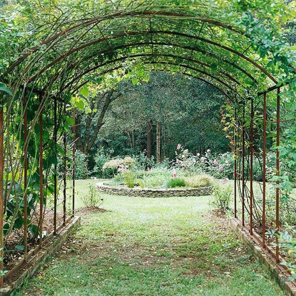 Garden Design Rose Arch From Metal Construction Creepers