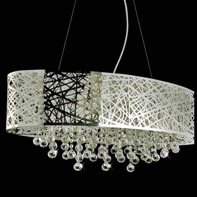 eac75c9dfa7 Show details for Web Modern Laser Cut Drum Shade Crystal Oval Pendant  Chandelier Stainless Steel 8 Lights