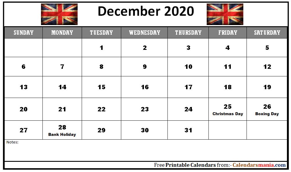 December 2020 Uk Holidays Calendar Holiday Calendar Uk Holiday Calendar Holiday Calendar Printable