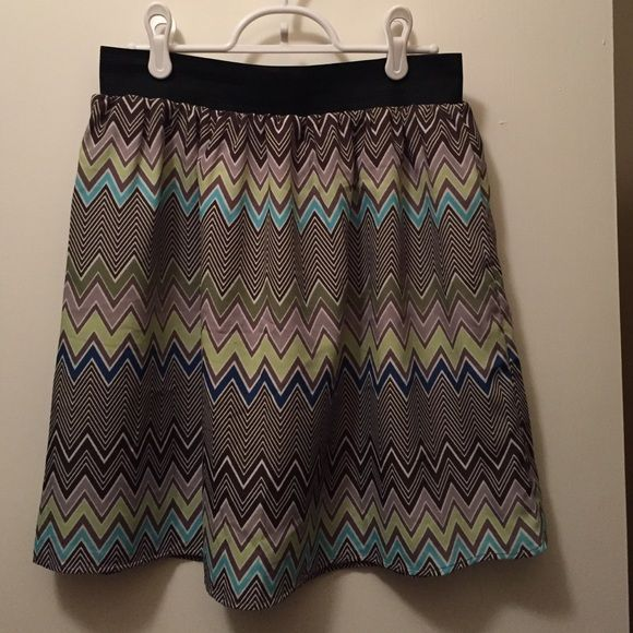 Chevron mini skirt! OFFERS WELCOME! This skirt was purchased from Francesca's Collections. It has an under lining, elastic band, and zipper at the back. It is a size L. Colors: brown, taupe, green, aqua, and more in the chevron pattern Francesca's Collections Skirts Mini