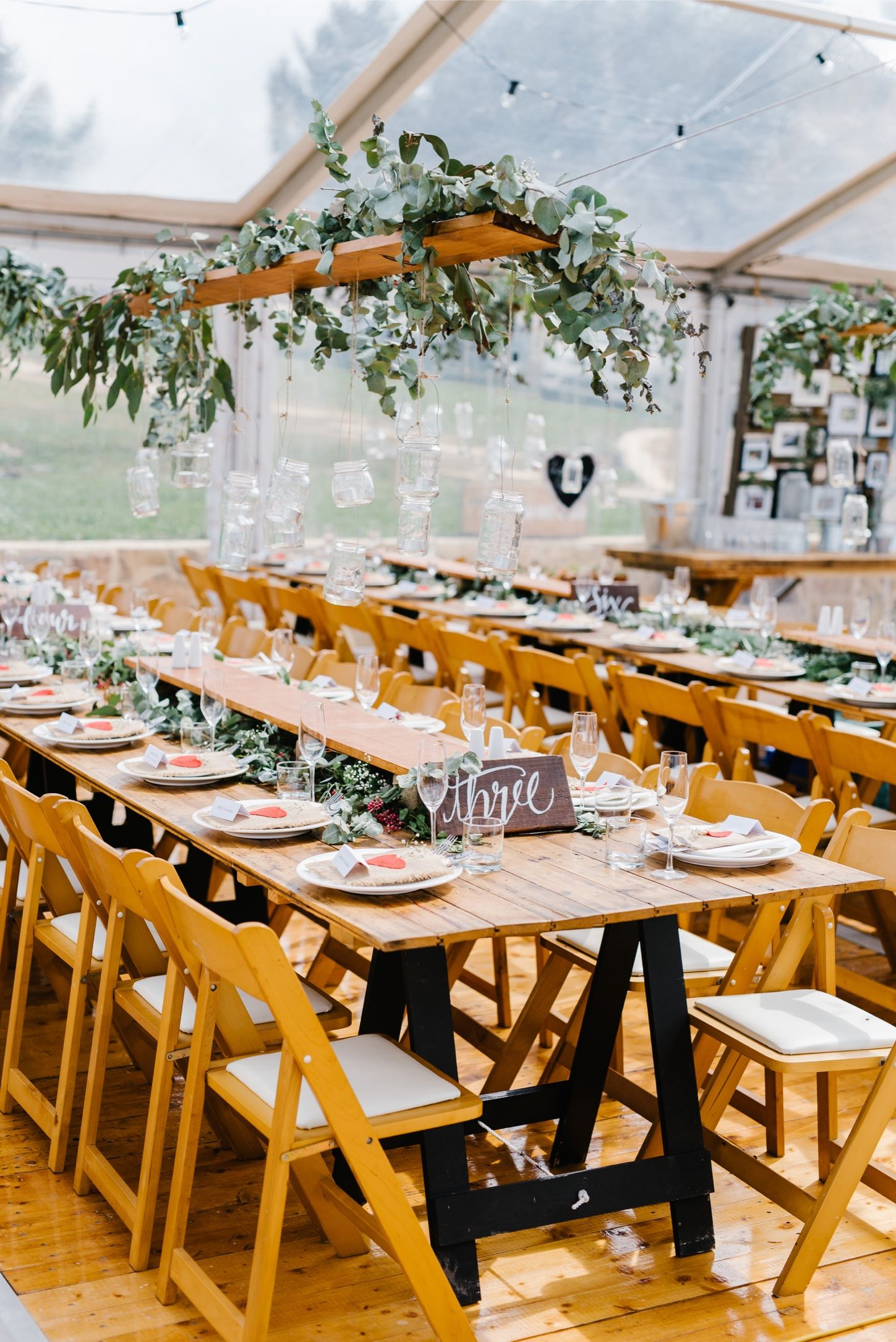 Wooden Padded Folding Chairs, Vintage Timber Trestle Tables, Clear Marquee