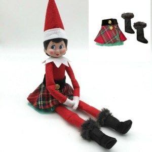Elf On The Shelf Tartan Skirt And Black Fluffy Boots Outfit Elf