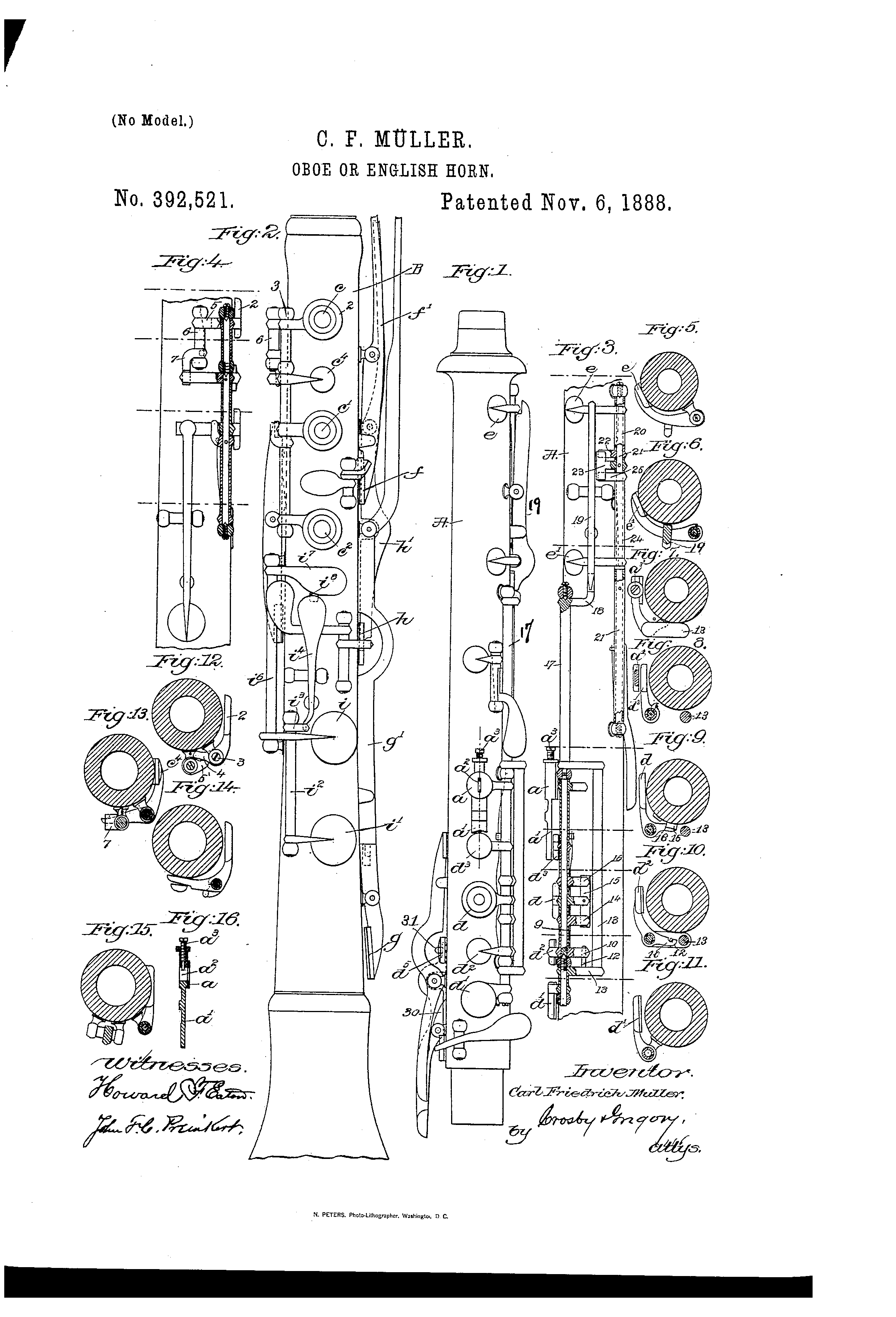 hight resolution of patent us392521 oboe or english horn google patents english horn oboe musical