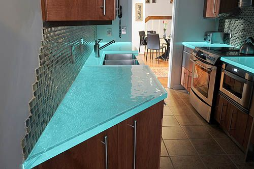 This Is Cool Glass Counter Tops That Glowi Love It But I Don't Amazing Unique Kitchen Countertops Decorating Inspiration