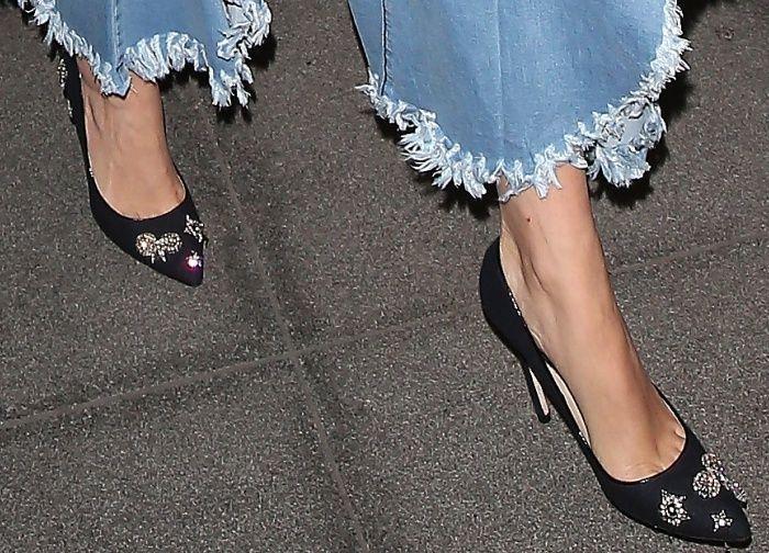 3ef4b8f5d3d Rita Ora wearing Jimmy Choo  Romy  embellished pumps at the BBC Radio 1  studios