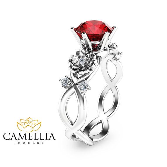 Twist White Gold Ruby Engagement Ring Unique By Camelliajewelry