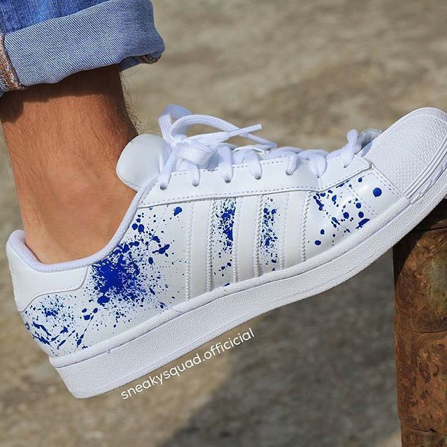 """Hand-painted sneakers from germany by @sneakysquad.official.  Order now at sneakysquad.com. Visit our shop and discover the famous Adidas Superstar """"Blue Hype"""" or the Stan Smith """"Artist Edition"""" now ! Free shipping worldwide ! wwww.sneakysquad.com"""