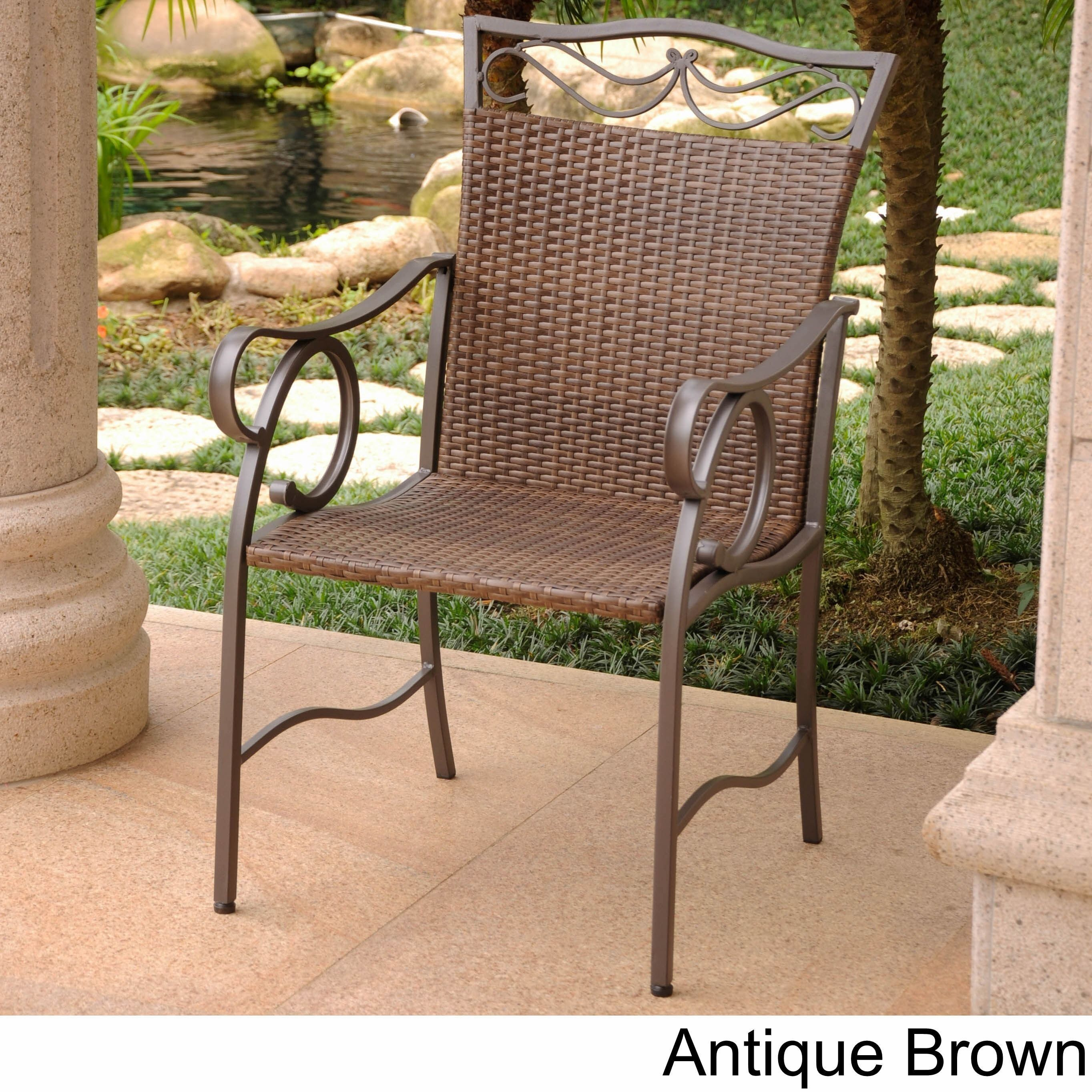 International caravan valencia resin wicker steel dining chairs set of 2 antique
