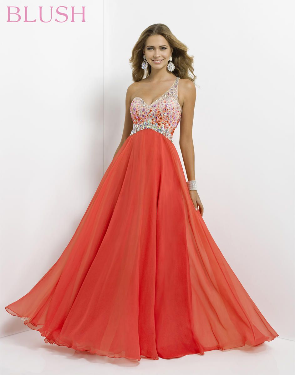 Blush one shoulder ombre prom dress amazing dresses