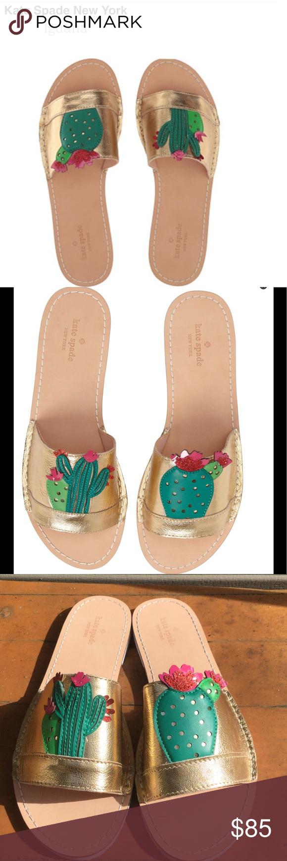 "537cb3133756 NWT Kate Spade Iguana Gold Cactus Slide Sandals NWT Kate Spade ""Iguana""  slides with"