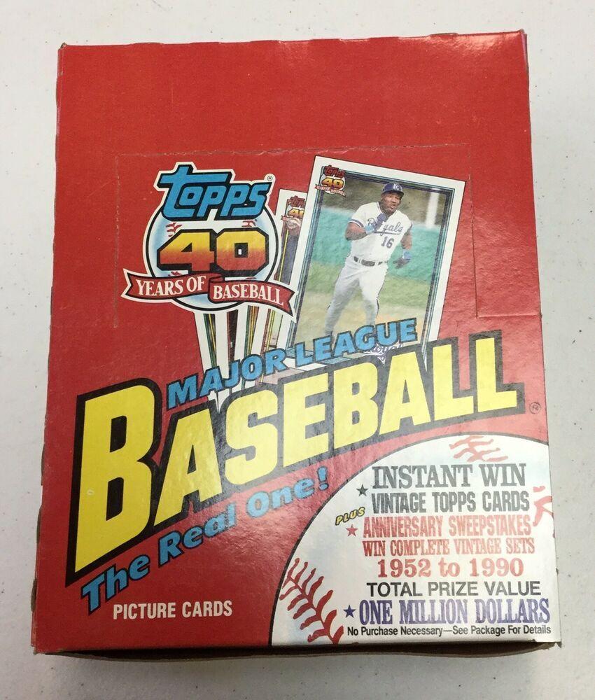 1991 topps baseball rack pack box 24 packs 45 cards per