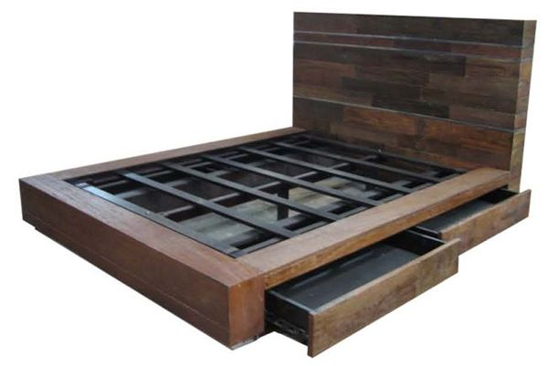 Platform Bed With Drawers Designs Rustic Bedroom Furniture Log