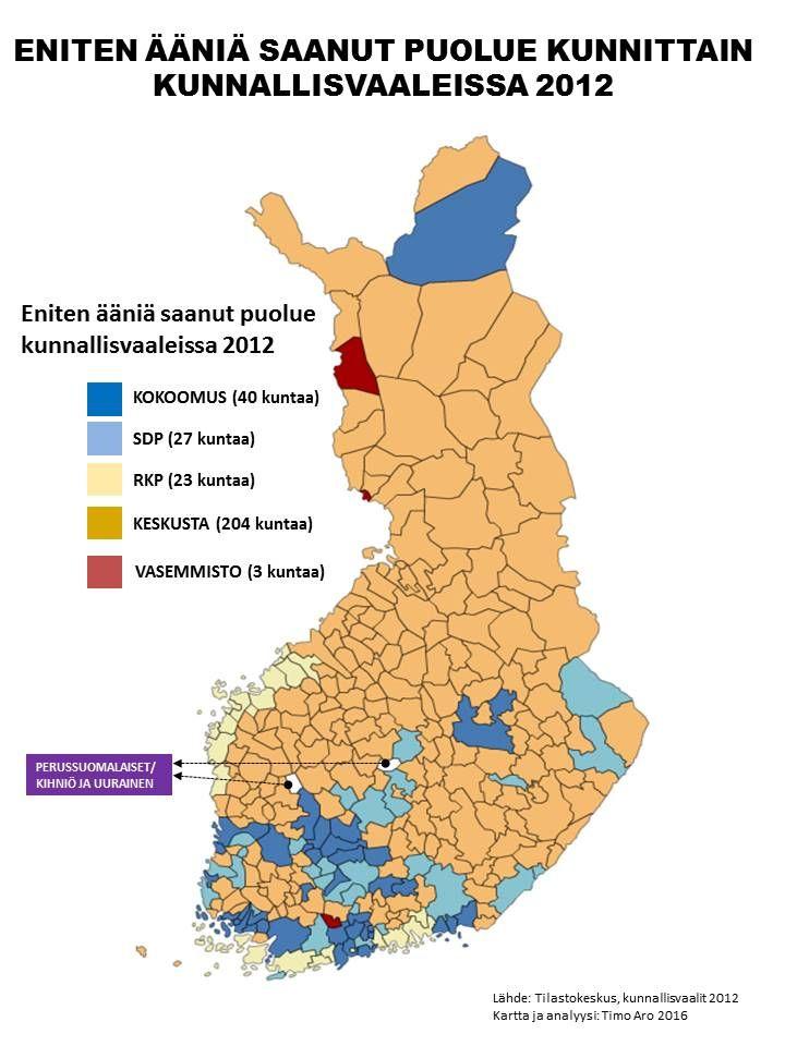 Timo Aro @timoaro  27. elokuuta Poliittinen maantiede (osa1). Eniten ääniä saaneet puolueet KV-vaaleissa 2012 #alueet #kunnat #alueuudistus #sote