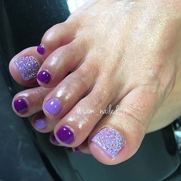 25 Eye Catching Pedicure Ideas For Spring Stayglam Purple Glitter Nails Toe Nail Designs Toe Nails
