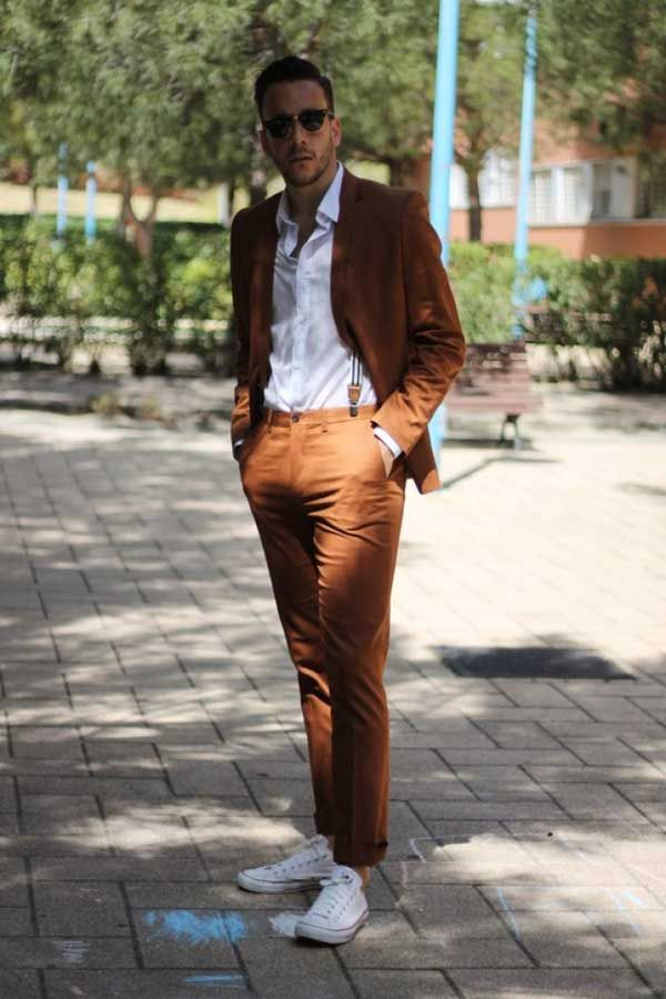 summer wear- brown linen suit, white chucks. | Menswear ...