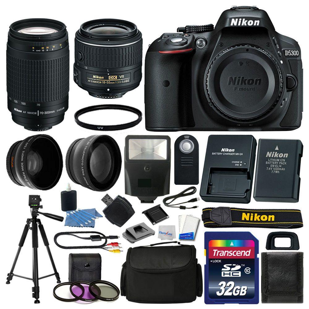 Nikon D5300 Digital Slr Camera 32gb 4 Lens Kit 18 55mm Vr 70 Af P