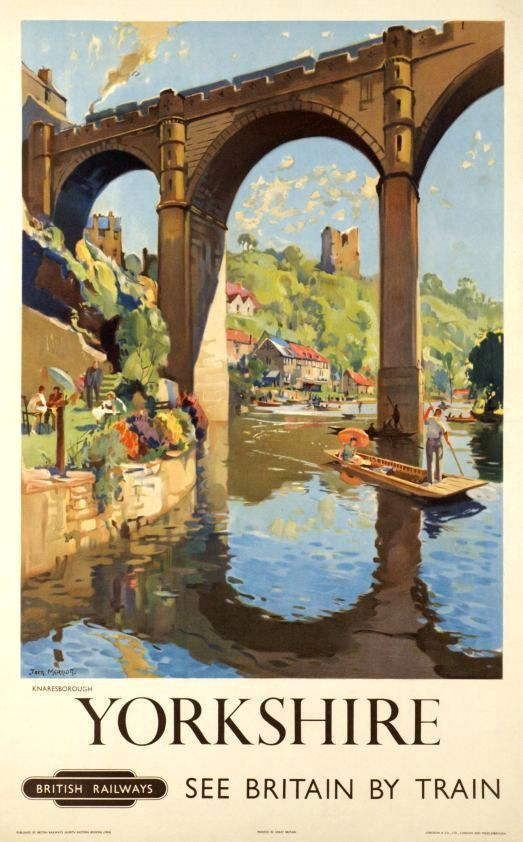 Photo of Knaresborough, River Nidd, Yorkshire. Vintage BR Travel poster by Jack Merriott. 1954