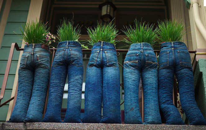 Blue jeans upcycled into planters.