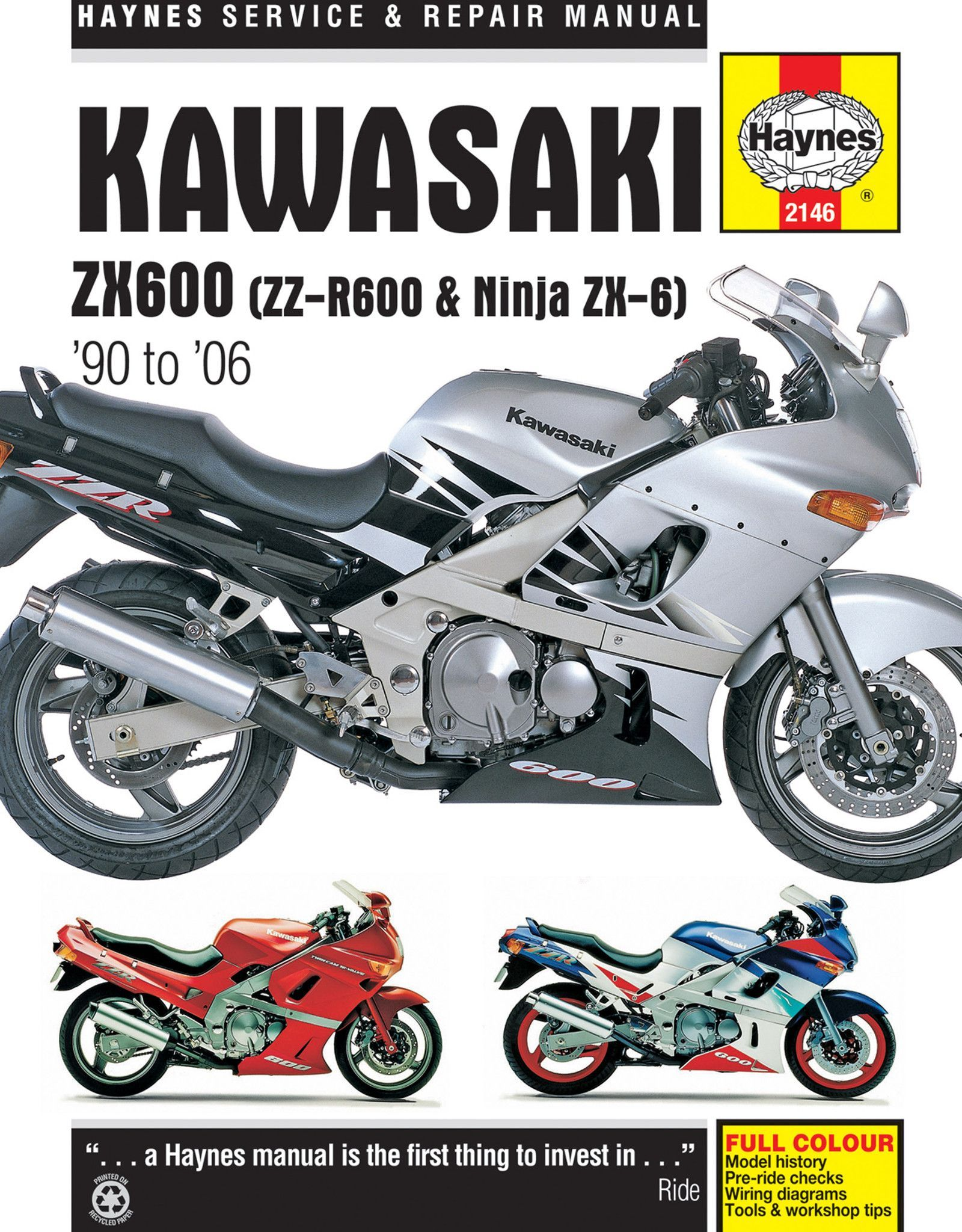 Haynes M2146 Repair Manual for 1990-04 Kawasaki ZX600 / ZZ-R600 / Ninja ZX-6