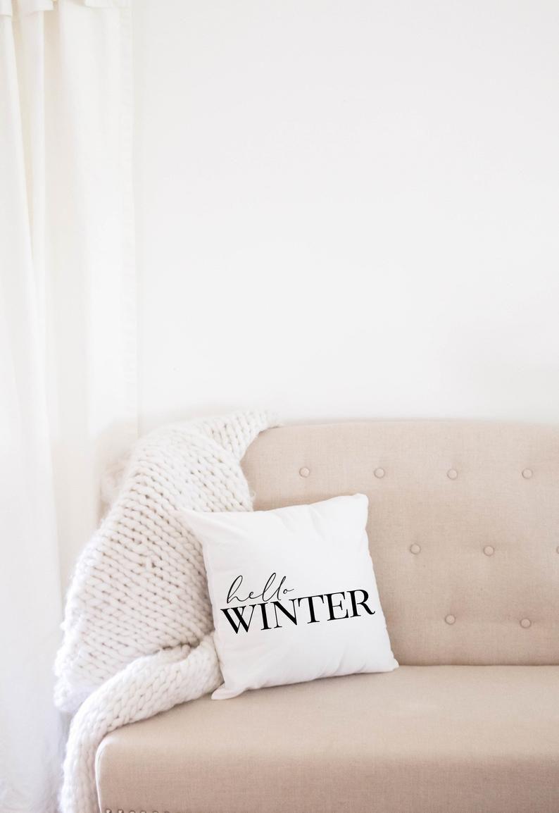 Personalisierte Hello Winter Kissenhulle Weihnachtskissen