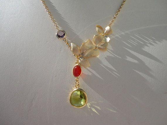 handmade retro gemstone pendant gold necklace by veroniquesjewelry, $69.00
