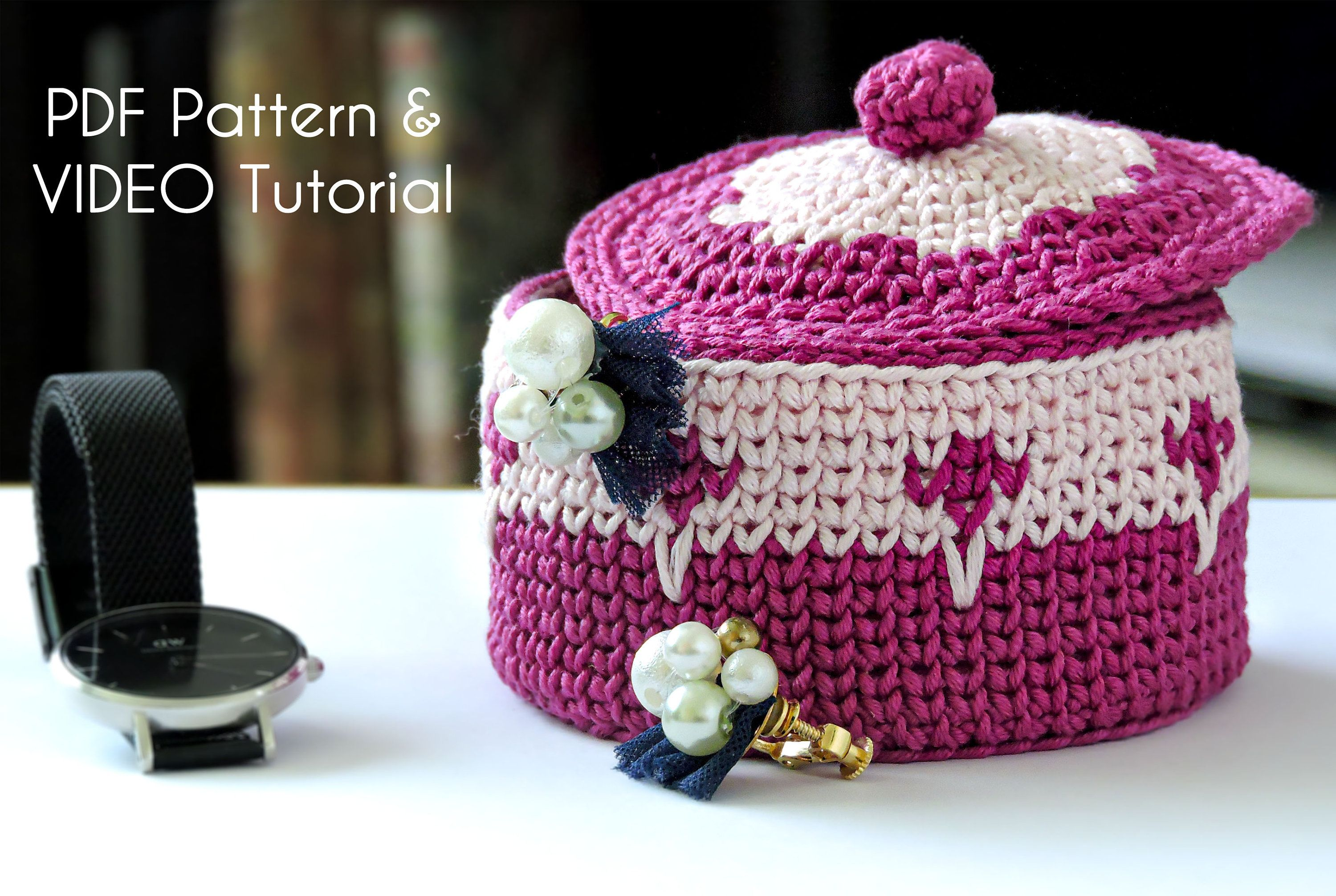 Crochet Bowl with Lid, Lidded Box, Jewellery Bowl, Crochet Lidded Bowl, PDF Crochet Pattern, Crochet Video Tutorial