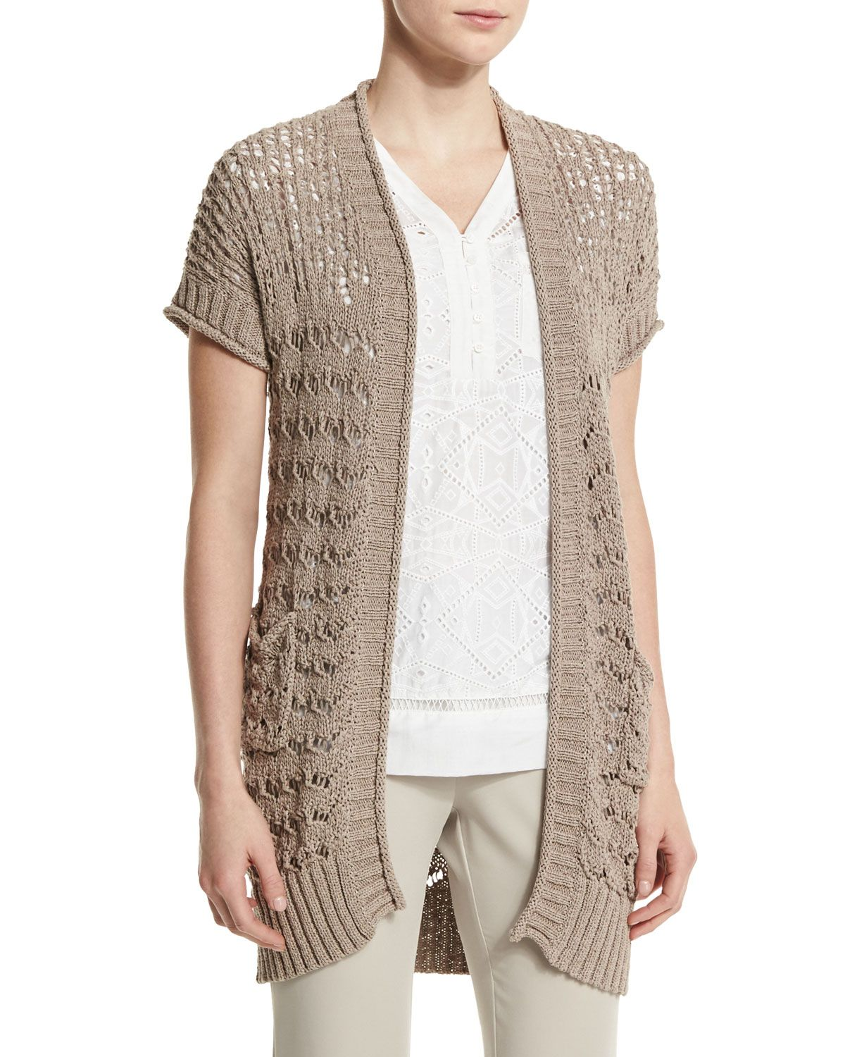 Short-Sleeve Sweater Vest, Light Brown - Neiman Marcus | *Neiman ...
