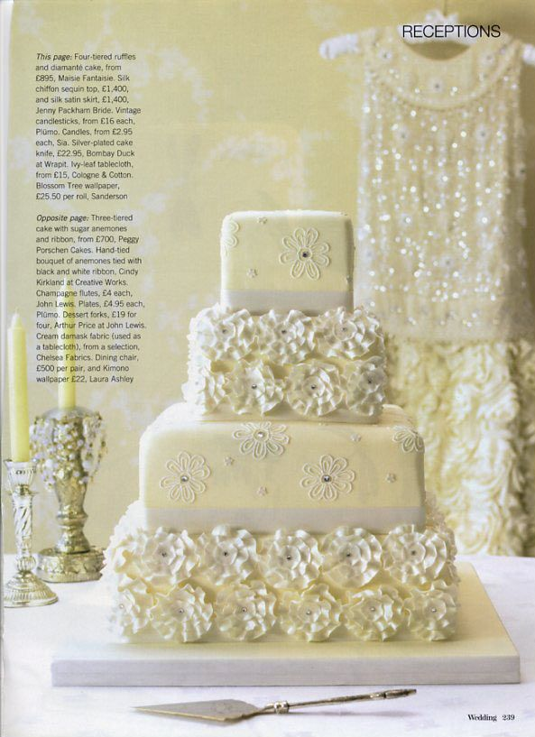 Pale Yellow Cake With Ruffled Flowers Picture