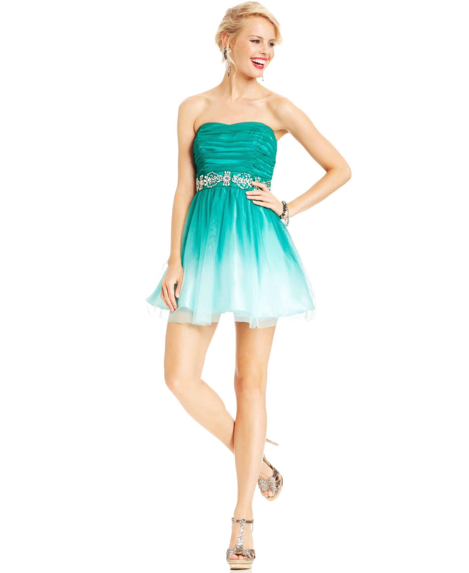 B darlin juniors dress strapless ombre aline juniors prom