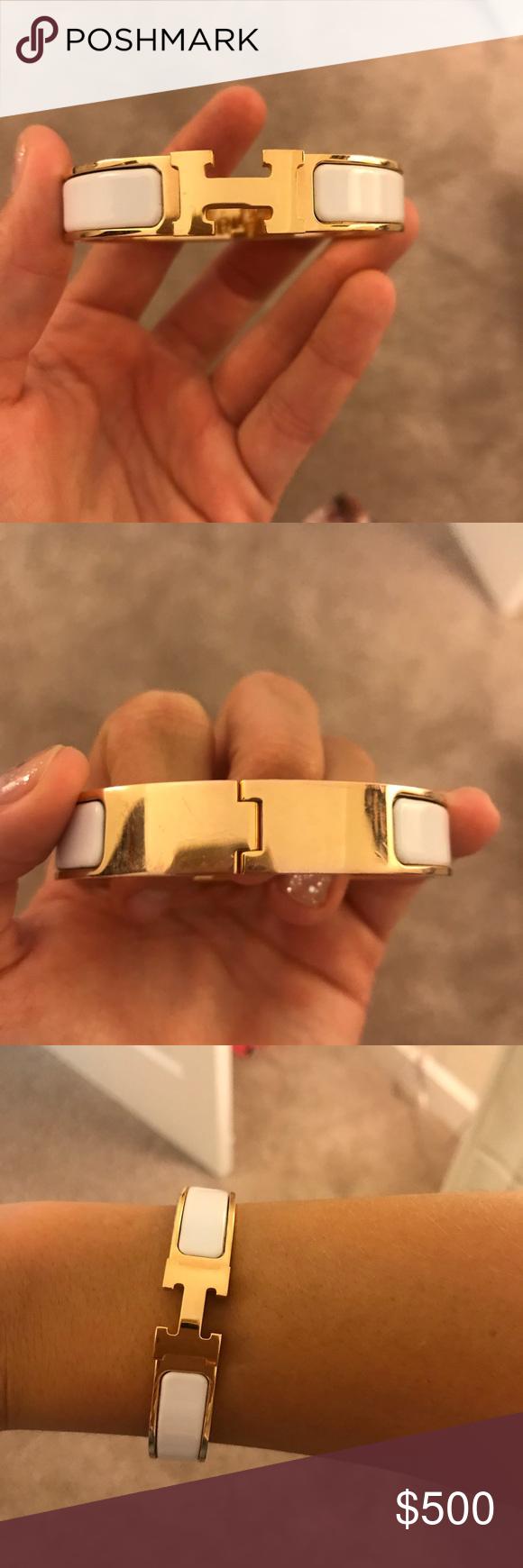 Hermès clic clac h bracelet rose goldwhite bracelet worn a few
