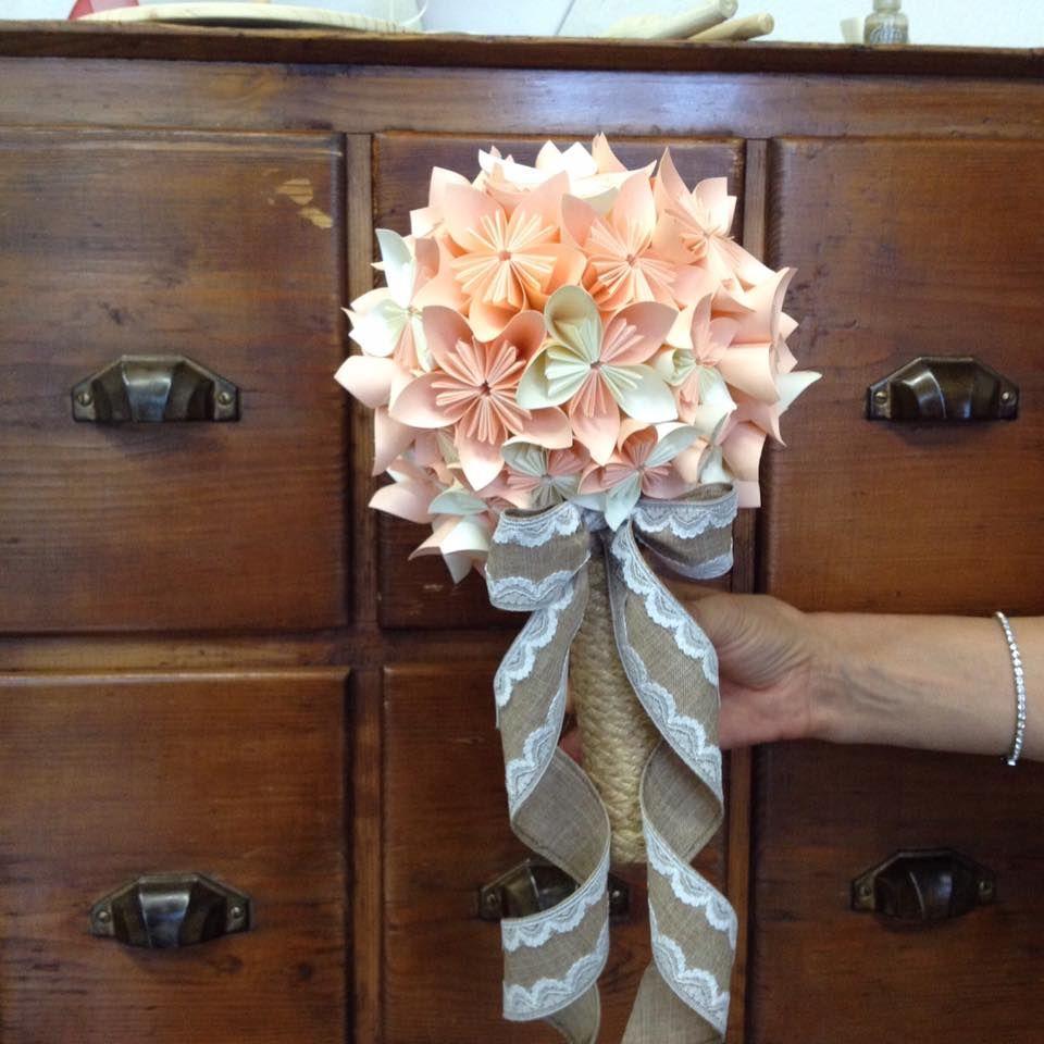 Bouquet Sposa Juta.Romantico Bouquet Sposa In Carta Avorio E Rosa Con Manico In Corda