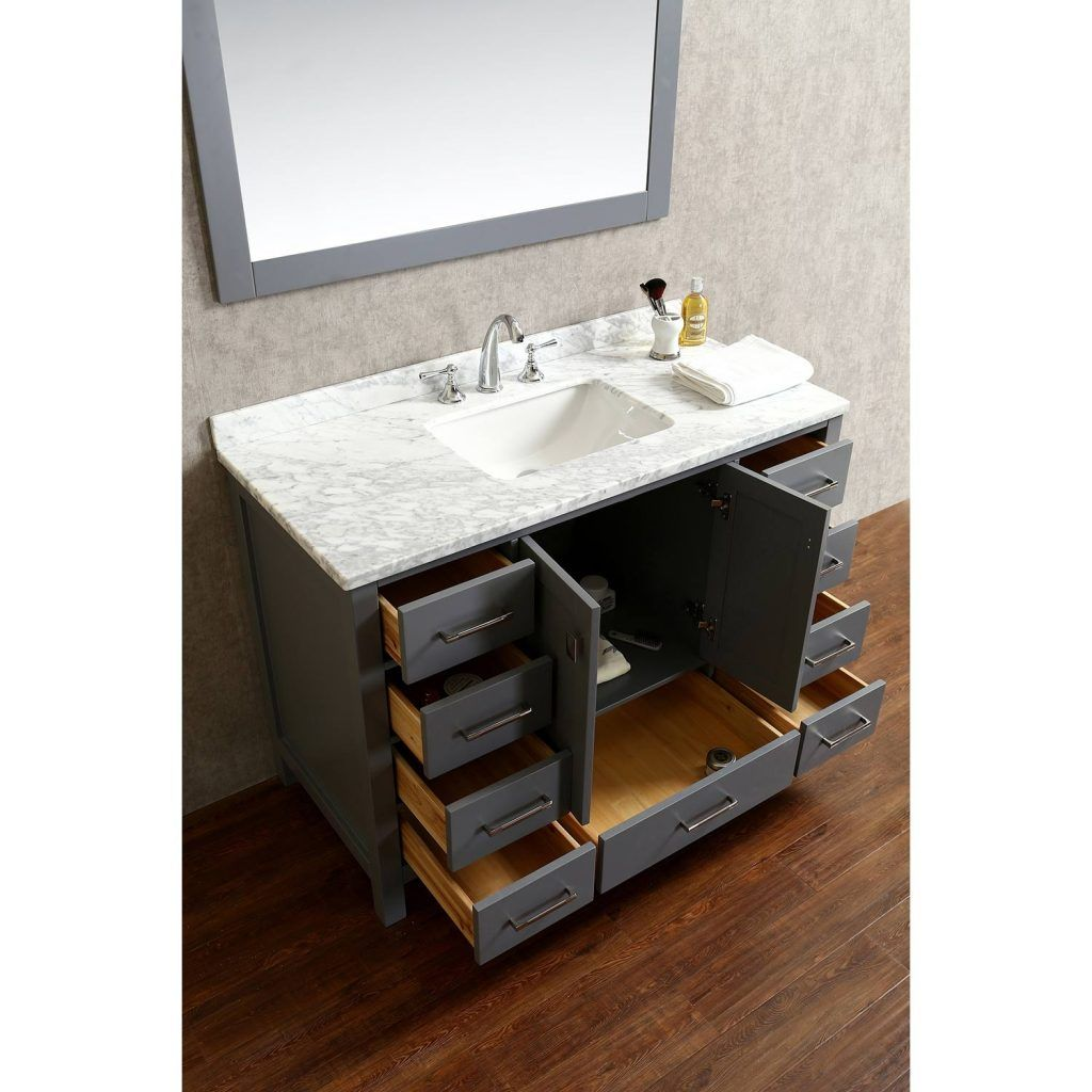 48 Inch Bathroom Vanity Vincent Solid Wood Single In Charcoal