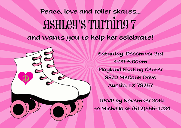 rollerskate invitation – Roller Skate Birthday Invitations