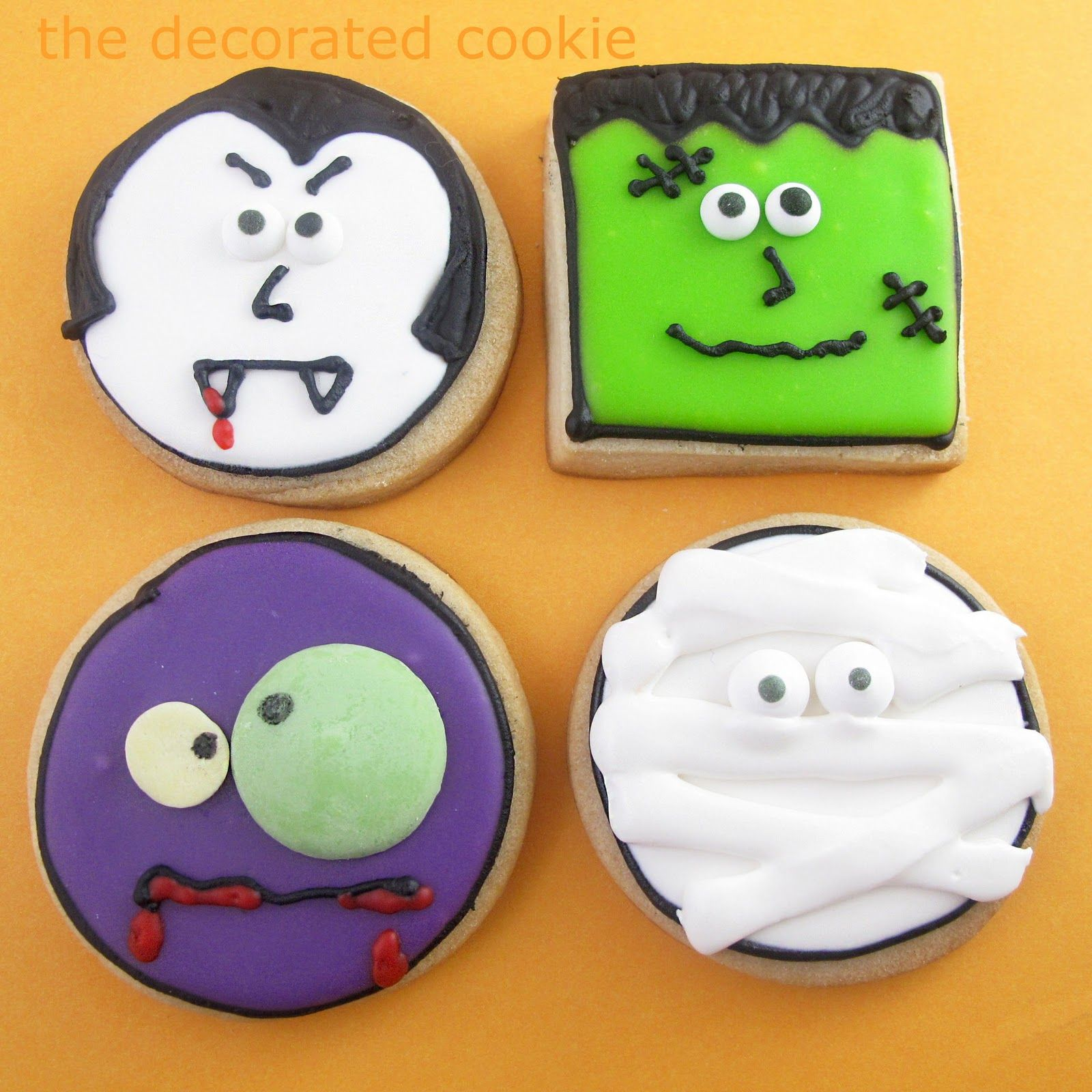 Monster face cookies for Halloween -- Halloween dessert idea - Halloween Decorated Cookies